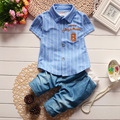 Summer Casual Baby Boys Baby Sets Striped T-shirts+Denim Jeans Pants kids Infants Clothing Sets Suits roupas de bebe