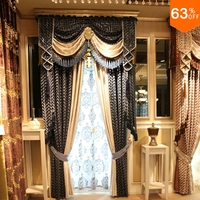 DarkGrey waving Small fur patchwork curtains for Restaurant Curtain Classic elegant Living Room Curtains for new Bedroom design
