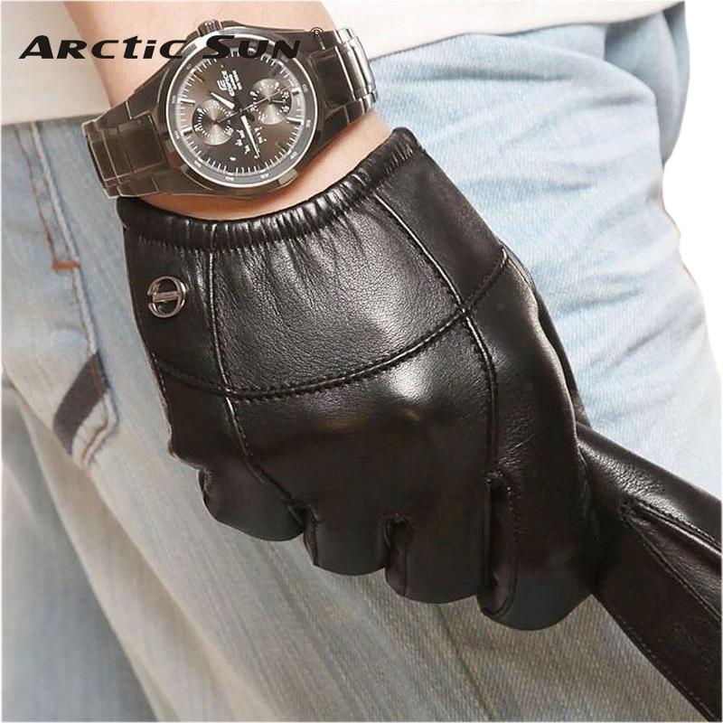 Special Offer Short Style Men Goatskin Gloves Wrist Elastic Genuine Leather Fashion Sheepskin Glove For Driving Limited Em004pn
