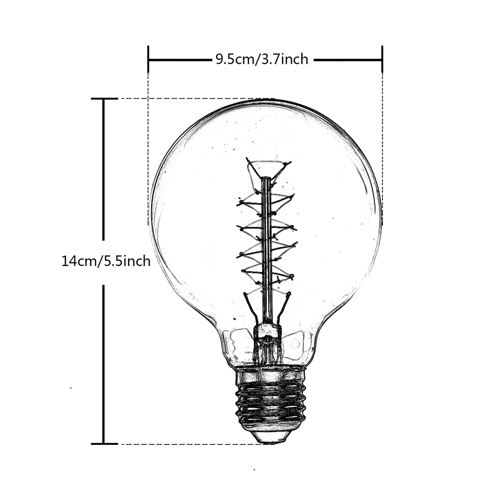 small resolution of g95 1900 antique vintage edison light incandescent bulb 40w 220v 110v radiolight large squirrel cage tungsten home decor bulbs in incandescent bulbs from