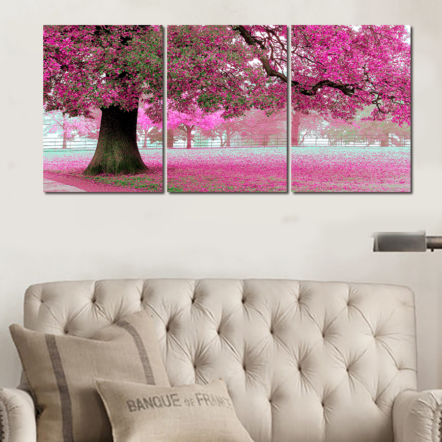 canvas cherry blossom promotion shop for promotional canvas cherry new 3 piece canvas art on canvas pink cherry blossom large modern wall art office decoration