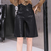 Black High Waist PU Leather Shorts Women Summer Casual Pocket Plus Size Knee Length Shorts Faux Leather Office Ladies Short Pant