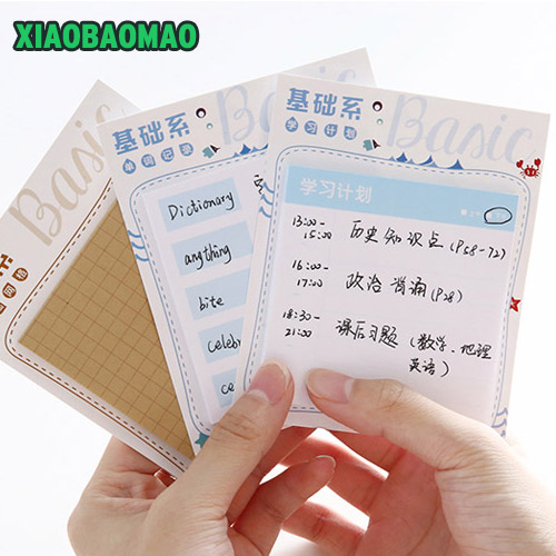 Various styles Cute Cartoon Plan Schedule Check Sticker Sticky Notes Bookmark Pads Korean Post It Memo Note Pad