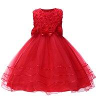 SQ248 New Summer Style Fashion Party Flower Girls Dress Children Princess Tutu Dress Pearl Kids Birthday