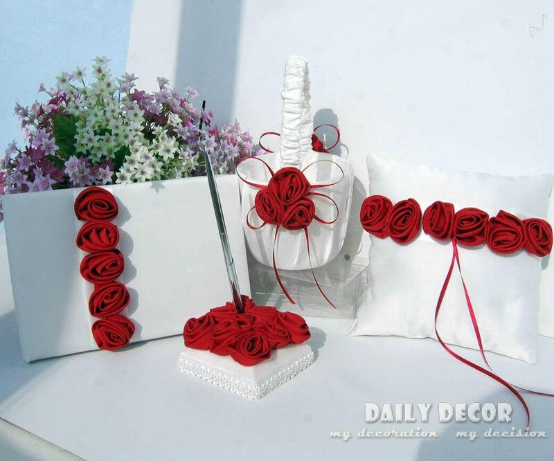 4 pièces ensemble rose fleurs accessoires de fête de mariage costume (panier de fleurs, oreiller de bague de mariage, stylo signe, livre d'or) livraison gratuite