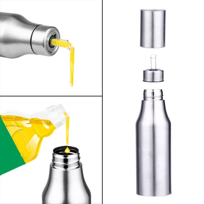 750ML Stainless Steel Leak-proof Oiler Spice Jar Sauce Vinegar Bottle Dust-proof Oil Dispenser Practical Kitchen Accessories