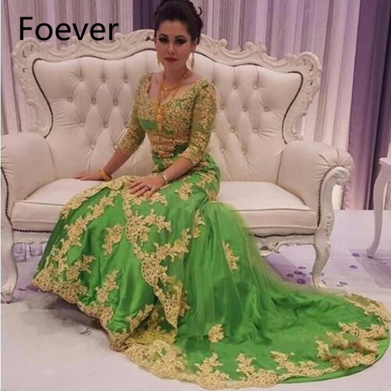 Caftan Marocaine 2019 Luxury Beaded Dubai Kaftan   Dress   Three Quarter Sleeve   Evening     dresses   Saudi Arabian Prom Gown Formal   Dress