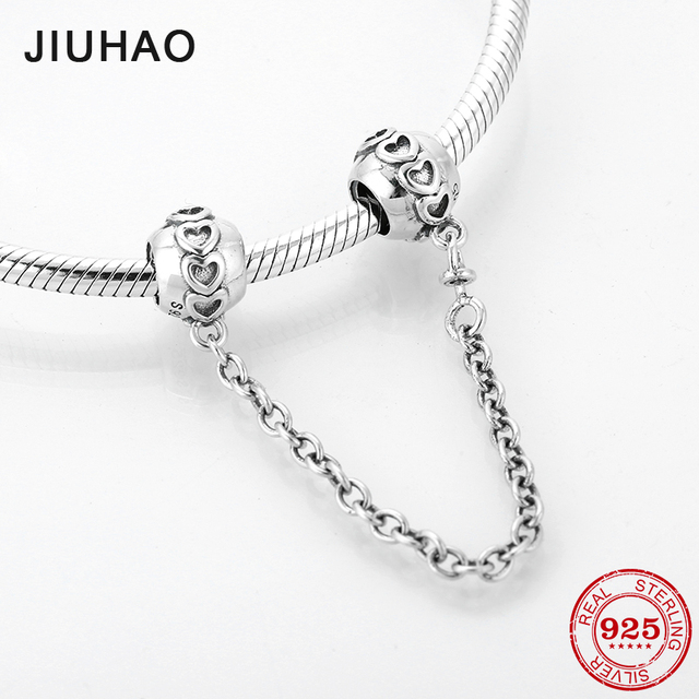 Hot 925 Sterling Silver heart pattern DIY fine Safety Chain Beads Fit Original Pandora Charms Bracelet Jewelry making