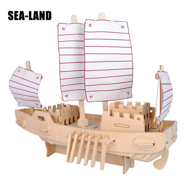 assembled iq puzzle 3d wooden toys children ship series model 3d