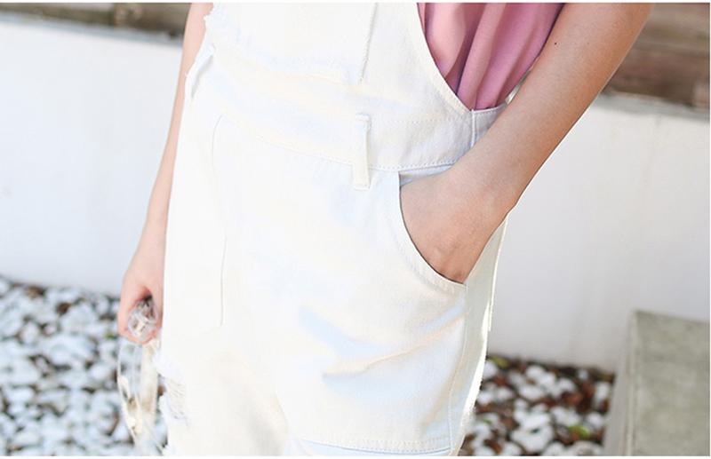 Denim Jumpsuit Women Solid Hole Jeans Jumpsuit Rompers Women Korean Fashion Suspender Monos Largos Mujer Pantalon Largo Overalls 17