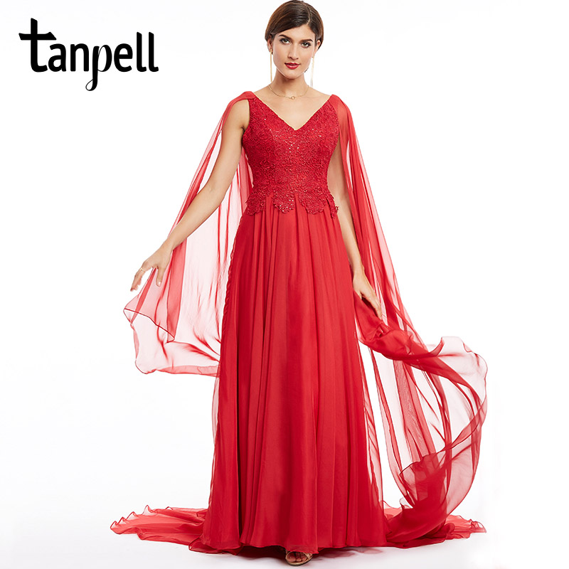 Tanpell v neck long   evening     dress   cheap red lace appliques a line court train   dresses   2017 women new style formal   evening     dress