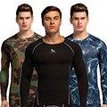 Los hombres camisa capa base de compresión skin gimnasio excercise medias ropa interior de manga larga jerseys única camisa superior sin fondo