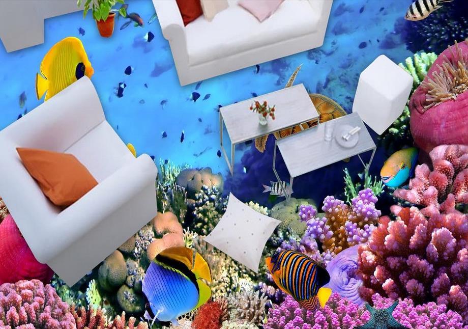 ФОТО vinyl flooring custom wall mural wallpaper Ocean World 3d floor wallpaper pvc waterproof-wallpaper-for-bathroom