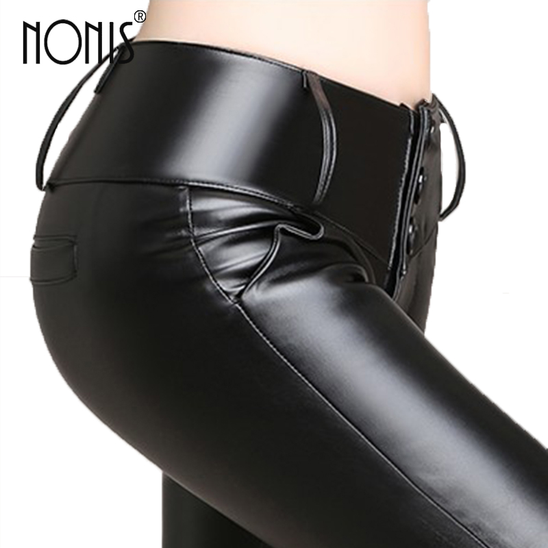 Nonis Women PU Leather Pencil Pants Black High Waist Stretch Ladies Leather Leggings Female Long Trousers Velvet and No Velvet