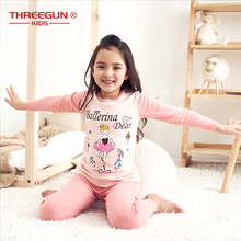 THREEGUN Kids Winter Pajama Sets Girls Cotton Cartoon Cute Thermal Underwear Children Clothes Soft Warm Kids Sleepwear Homewear pajama sets frutto rosso for girls tk117g044 sleepwear kids home suit children clothes