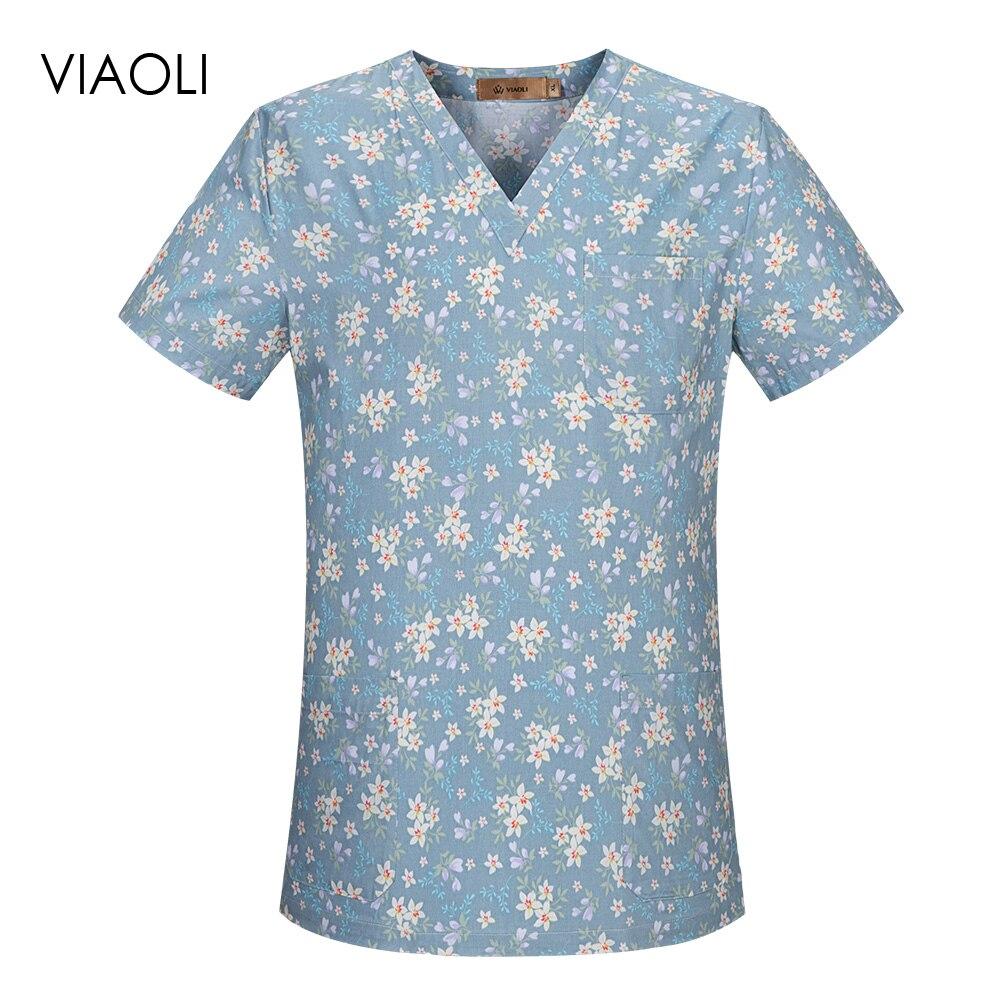 V-neck Dental Clinic Scrubs Tops Floral Printing Pet Doctor Nurse Uniforms Hospital Nursing Scrubs Tops Medical Scrubs Workwear