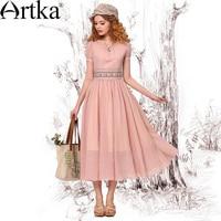 Artka Women's Retro Elegant Embroidery Cinched Waist Slim Fit Short Sleeve Scoop Neck Pearl Pink Swing Hem Dress LA11043X