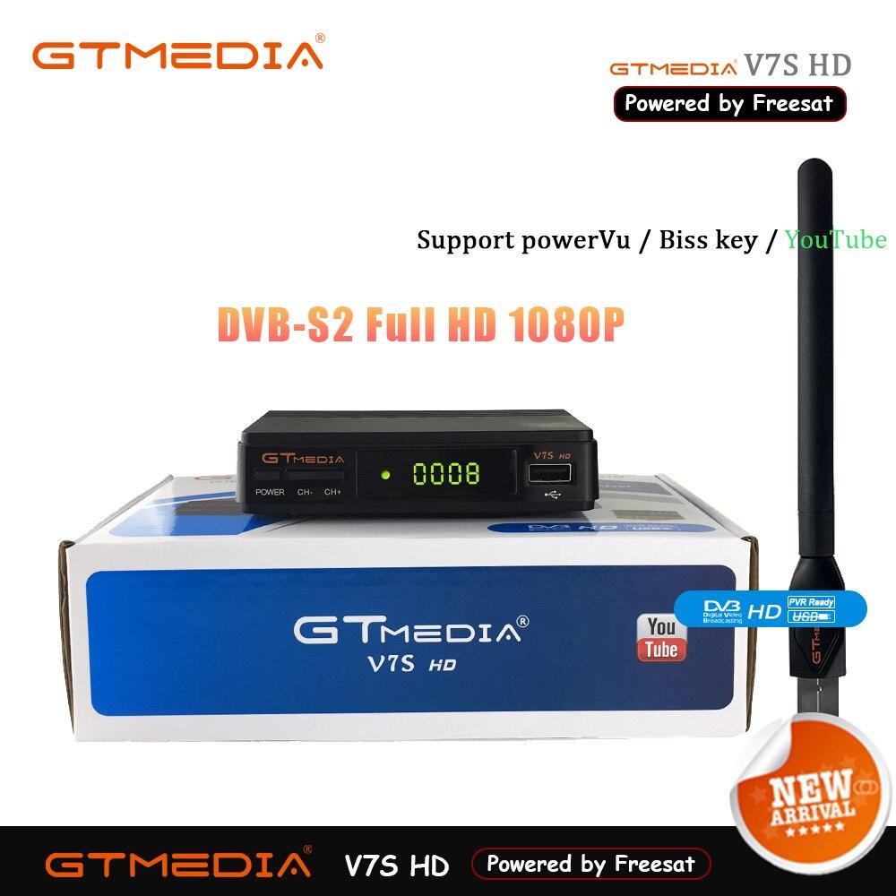 Tv numérique Boîte Gtmedia V7S HD Récepteur Cline Lecteur Tuner DVB-S2 1080 P récepteur satellite Vu Biss Youtube Wifi Antenne Freesat