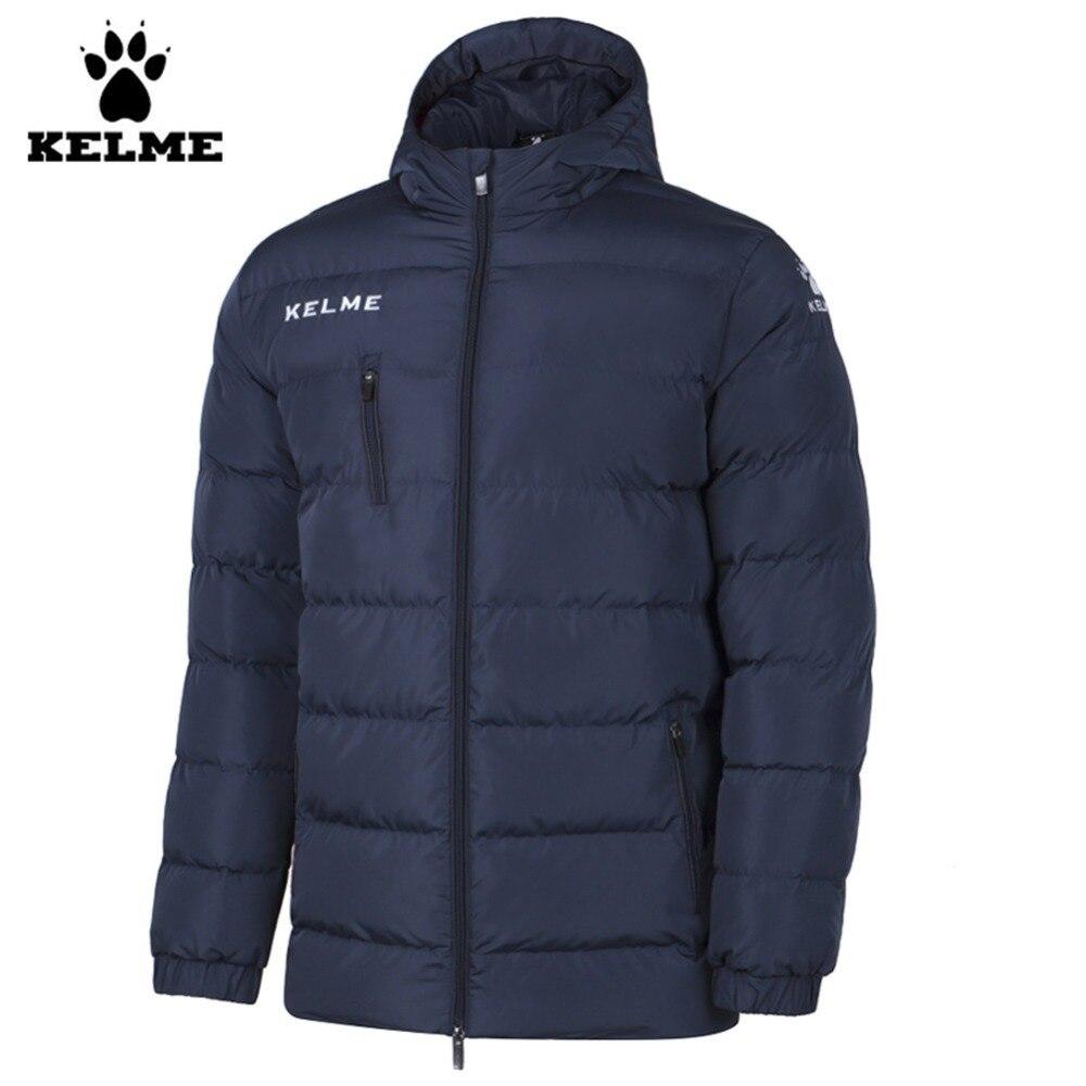Kelme K15P010 hommes plein air hiver moyen-long col montant à capuche fermeture éclair doudoune marine noir