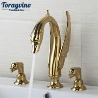 Ванная комната Роскошный Золотой лебедь водопад комплект из 3 предметов 2 рычаг 97145 душ на палубе Ванная комната бассейна Раковина Ванна