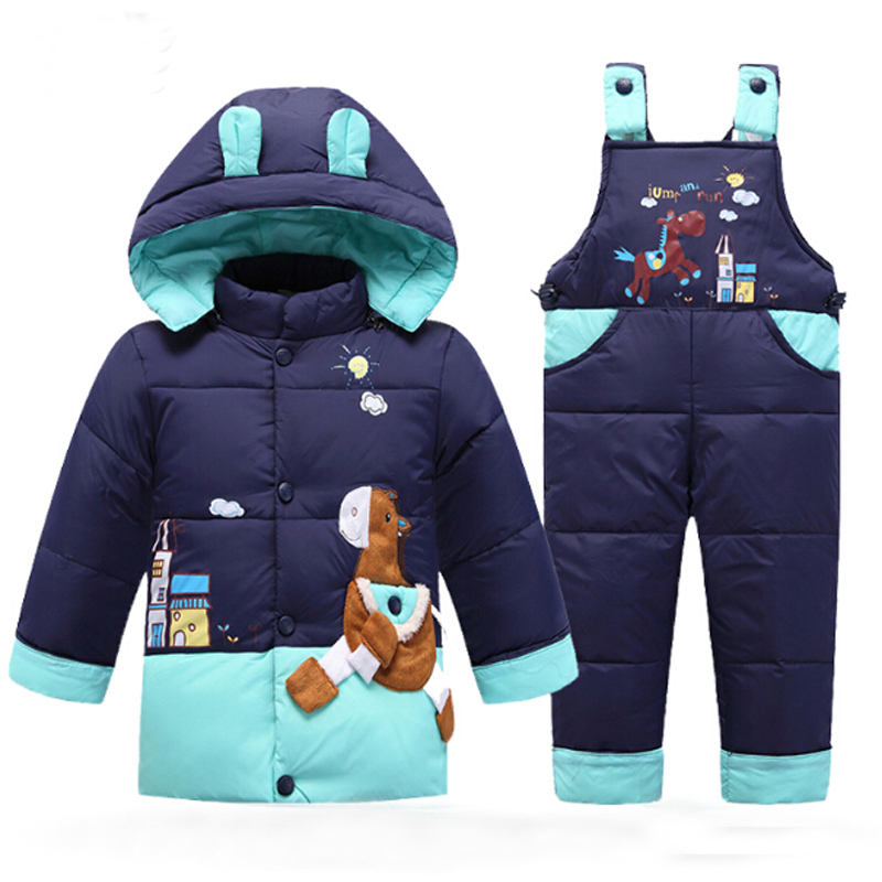 Snowsuit Baby Winter Down Jacket Kids Parka Coat Autumn Children Warm Jackets Infantil Overall Girls Boys Outerwear Clothes Set цена