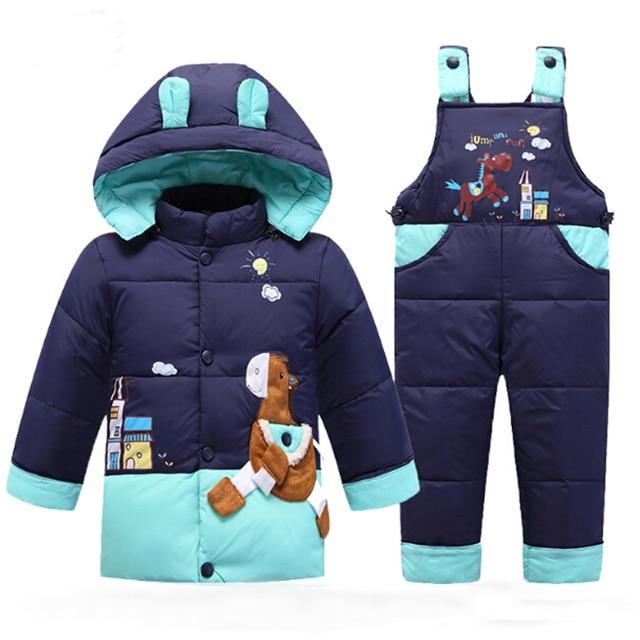 Snowsuit Baby Winter Down Jacket Kids Parka Coat Autumn Children Warm Jackets Infantil Overall Girls Boys Outerwear Clothes Set