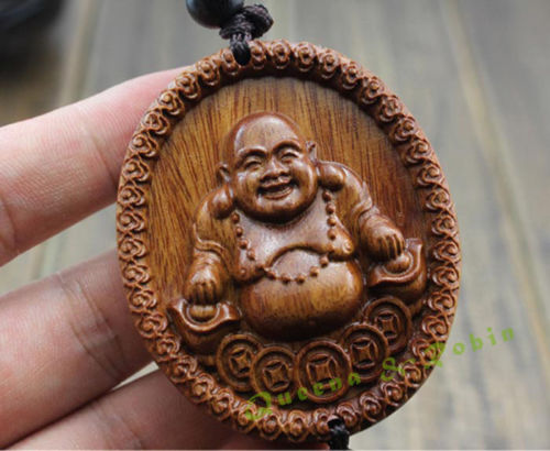Chinese Knot Wood Carved Happy Laughing Maitrey Buddha Statue Car Pendant Amulet