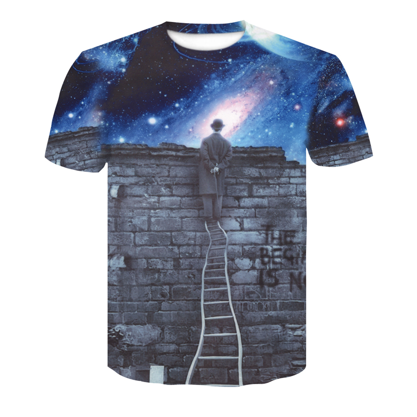 Red Spy New European style boy T-shirt 3d print A person watching meteor shower Space galaxy Funny mens lady Tops T-shirts