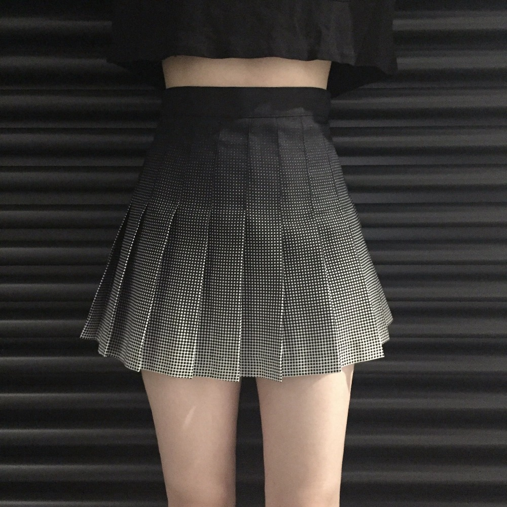 Womens Skirts Ladies Punk Kawaii Ulzzang Retro Pleated Skirt Graduated Printed Plaid College High Waist Skirt Female Kawaii