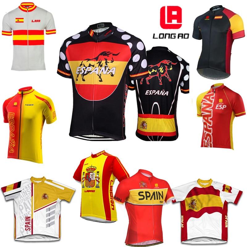 Jersey de Ciclismo MTB de bicicleta de carretera del equipo de España camiseta de bicicleta de bandera de longao/Ropa de bicicleta Ropa de Ciclismo de alta calidad de secado rápido