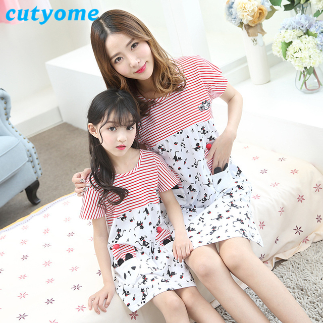 28fe3d5cc2 ... Kids Christmas Outfit Red Green Pyjamas Sleepwear Stripe  Cutyome  Summer Mother Daughter Pajamas Short Sleeve Cotton Striped Family Look  Matching Fitted ...