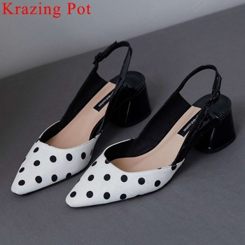 2020 new arrival pretty girl chunky med heels slip on classic square toe genuine leather mixed colors slingback summer pumps L06