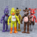 10sets DHL 5.5'' 14cm FNAF Bonnie Foxy Freddy Fazbear PVC doll Action Figures Five Nights At Freddy's Figure Doll LED light Toy