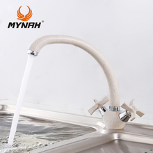 Mynah Russia Free Shipping Double Handle Kitchen Faucet Mixer Cold