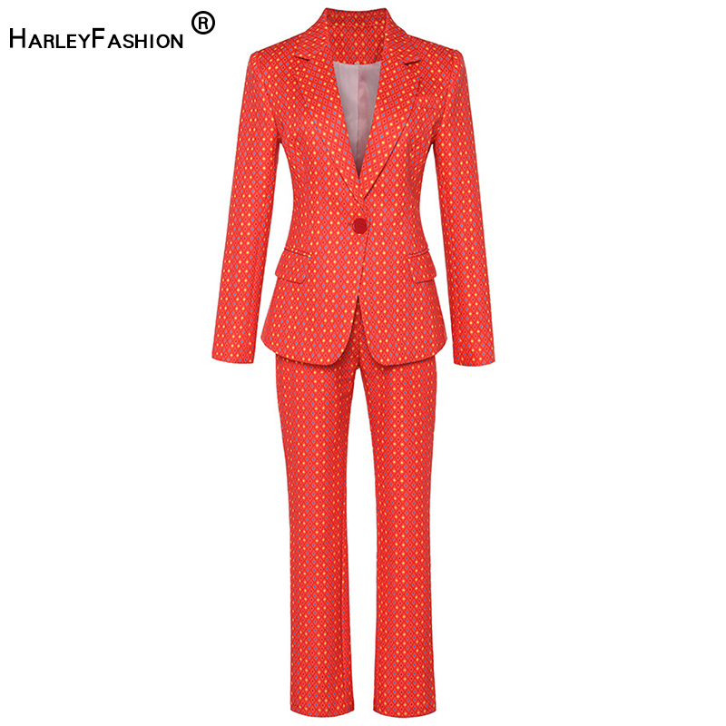 HarleyFashion Stunning Design Fall Style Colorful Twin Sets Print Blazer Slim Trouser Fashion Pants Suits Women Quality Outfits