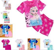 dca86ef65ff Детская одежда комплект одежды для детей для укладки ночное белье пижамы с  принтом Обувь для девочек Снежная Королева Эльза Анна..