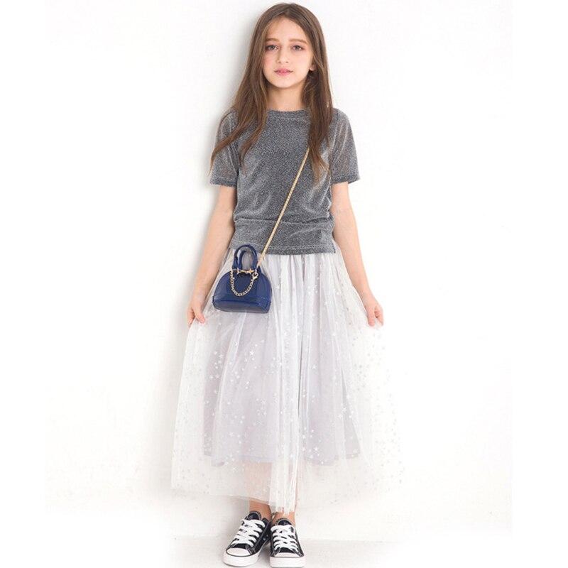 Conjuntos de Roupas de verão Meninas Princesa Pettiskirt Material Tops Teste Padrão de Estrelas de Flash Saia 2 pcs Roupas de Menina Conjunto Roupas para Adolescentes 9