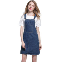 DTYNZ New Arrival Womens Denim Skirt Overalls Elegant Susperders Skirts For Female A Line Jeans Skirt