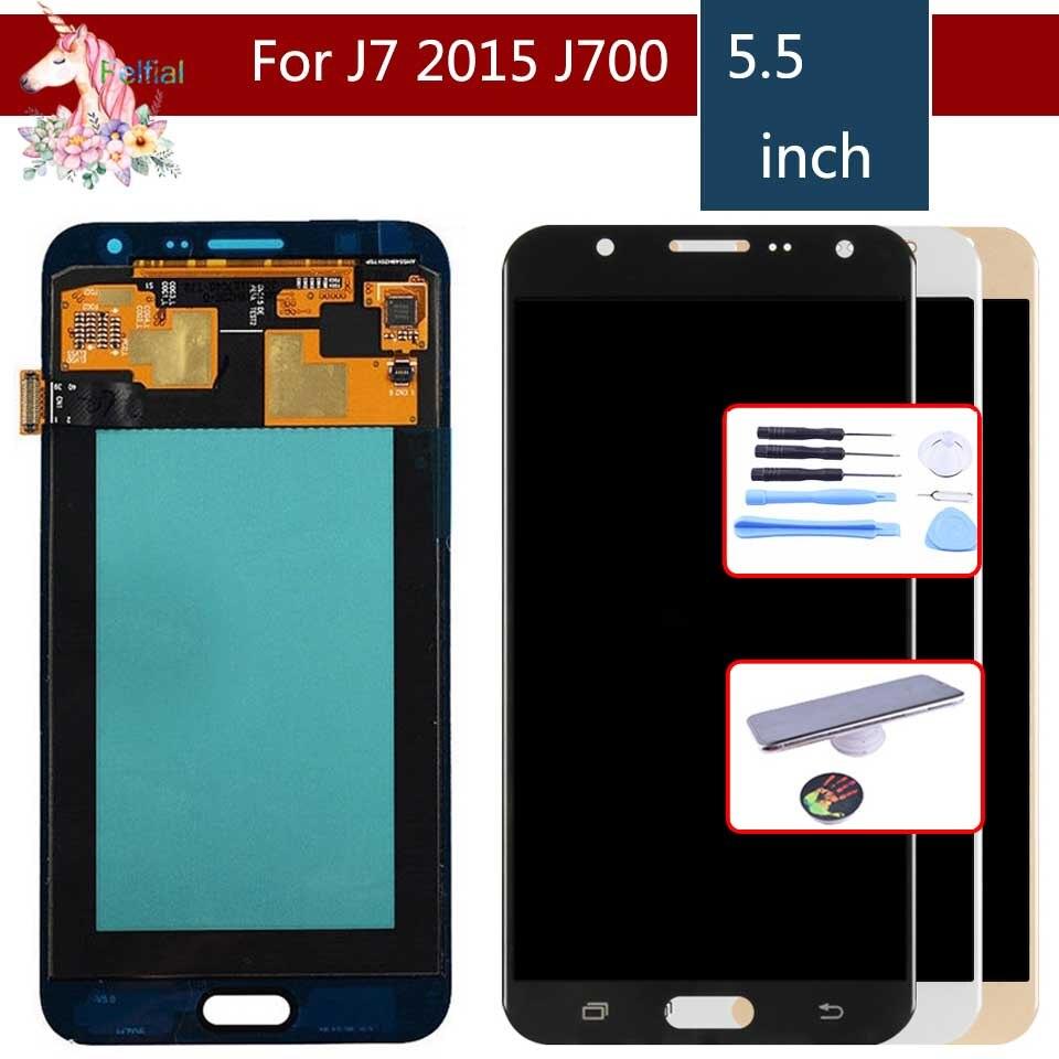 10 pcs/lot AMOLED pour Samsung Galaxy J7 2015 J700 J700F J700M J700H écran LCD avec remplacement de l'assemblage de numériseur d'écran tactile