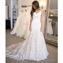 Sexy Lace Mermaid Wedding Dresses 2019 New Ivory Bridal Gown Sleeveless V Neck vestido de noiva Custom Made Color Size