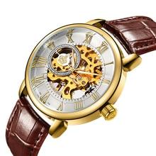ORKINA 2017 Hombre Reloj Para Hombre Delgado Caso Esquelético de Oro Dial Relojes de Pulsera de Lujo Relogio masculino Mano-viento Reloj Mecánico