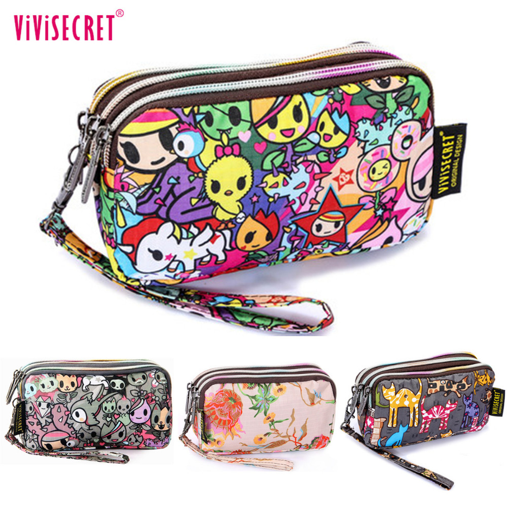 2017 Fashion Women Handbag Wristlet Organizer Wallet Cute Cartoon Printing Clutch Bag Pencil Case Floral Coin Phone Purse Pouch