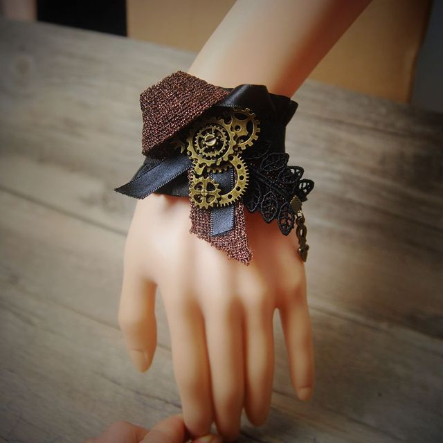 Retro Vintage Lady Handmade Jewelry Gothic Lace Ribbon Bracelet Gear Cogs Steampunk