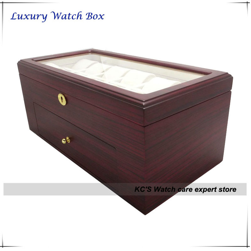Quality Double Layers Wood(MDF) Watch Case 22 Grids Watch Display Box Storage Holder Christmas Birthday Gift GC02-TZ-22WD 6 grids watch display box black high light lacquer mdf watch box fashion watch storage packing gift boxes d028
