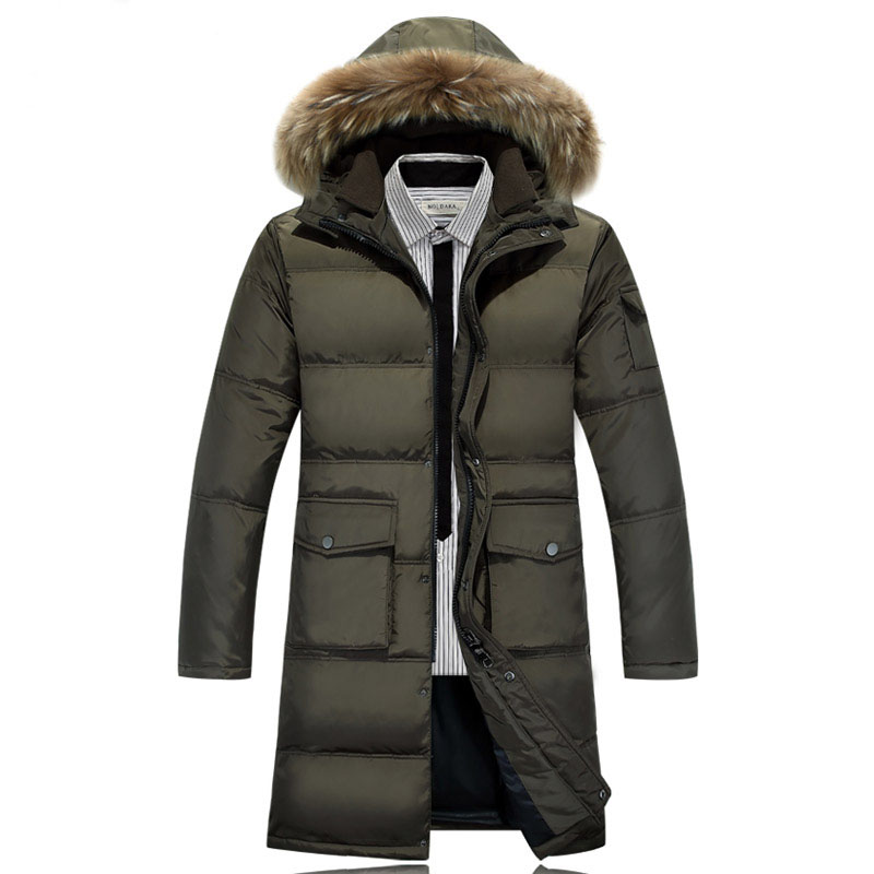 Nice New Fashion Winter Coat Men Warm Down Male Hooded Long Thickening White Duck Down Jacket Outwear Casual Solid Parkas HJ111