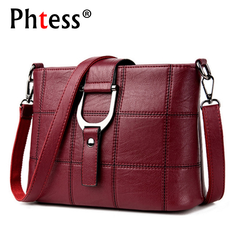 PHTESS Luxury Plaid Handväskor Damväskor Designer Märke Kvinna Crossbody Axelväskor För Kvinnor Leather Sac En Main Ladies Bag