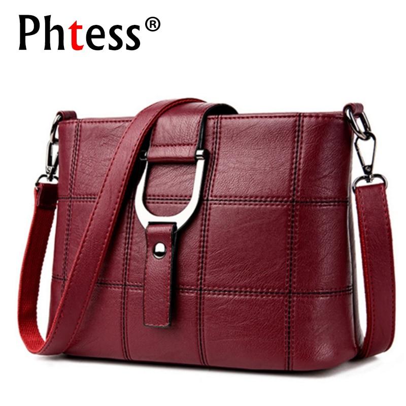 PHTESS Luxury Plaid Handbags Women Bags Designer Brand Female Crossbody Shoulder Bags For Women Leather Sac a Main Ladies Bag