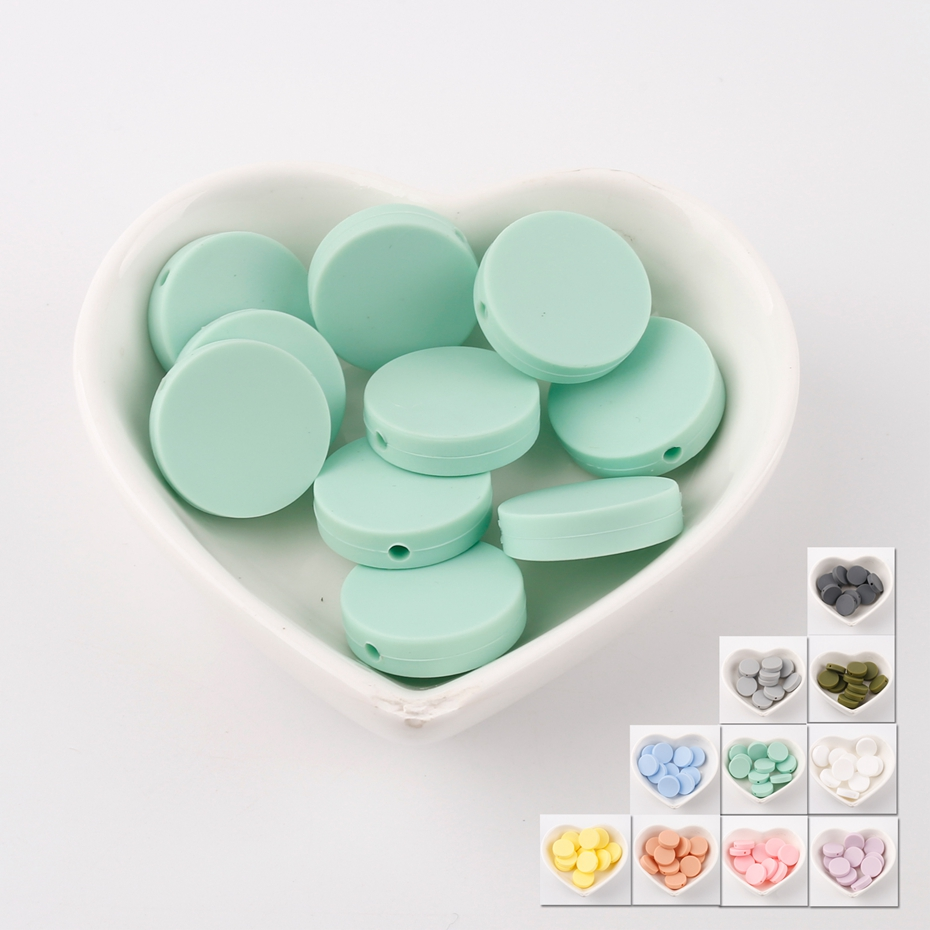 Bite Bites Mint Flat Round Beads Silicone Food Grade Nursing DIY Craft 5pc Accessories Chewable Silicone Beads Baby Teether ...