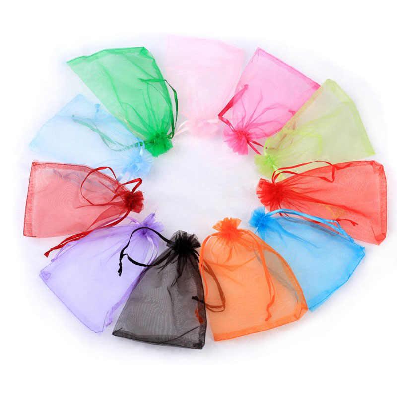 100 pcs cores 11X16 22 15X20 17X23 20x30 cm sacos de organza de casamento decoração do partido saco do presente bolsas jóias embalagem drawable J15
