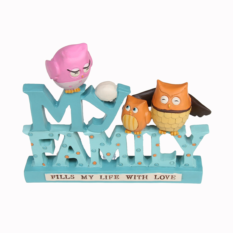 Decorative Letters My Family Owl Dad Mom Baby Figurines Fill my Life with Love Words Block Decor Mother and Father Presnets